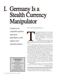 Germany Is a Stealth Currency Manipulator